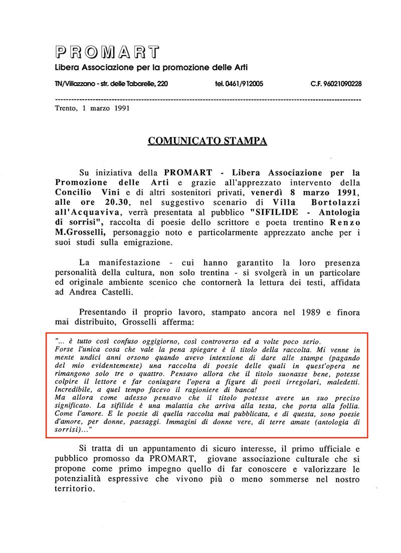 COMUNICATO STAMPA PROMART 1991
